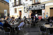 Outdoors street cafe historic former Jewish housing area, Cordoba, Spain