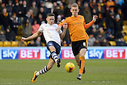 Preston North End midfielder Alan Browne and Wolverhampton Wanderers midfielder George Saville battle for the ball during the Sky Bet Championship match between Wolverhampton Wanderers and Preston North End at Molineux, Wolverhampton, England on 13 February 2016. Photo by Alan Franklin.
