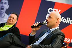 Representative of the main sponsor Petrol and Zoran Jankovic Mayor at Count down ceremony to CEV Euro Volley 2019 in Ljubljana, Slovenia.