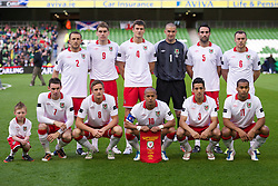 DUBLIN, REPUBLIC OF IRELAND - Wednesday, May 25, 2011: Wales' players line up for a team group photograph before the Carling Nations Cup match against Scotland at the Aviva Stadium (Lansdowne Road). Back row l-r: Neal Eardley, Sam Vokes, Owain Tudur Jones, goalkeeper Boaz Myhill, Craig Morgan, Darcy Blake. Front row l-r: Andy Dorman, Andy King, captain Robert Earnshaw, Neil Taylor, Jermaine Easter. (Photo by David Rawcliffe/Propaganda)