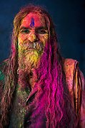 A sadhu, or holy man, becomes embroiled in Holi in the town of Nandgaon, where India's spring festival is at is most boisterous.