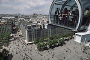Visitors at Beaubourg Museum at the Georges Pompidou Center, overlooking the surrounding city, Paris, France.