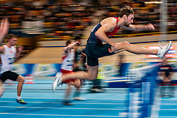 Liam van der Schaaf in action on 60 meter hurdles during the Dutch Indoor Athletics Championship on February 23, 2020 in Omnisport De Voorwaarts, Apeldoorn