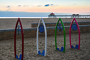 Surfboard Bike Racks Near the Huntington Beach Junior Lifeguard Headquarters