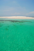 Clear waters and bleached sands beach in Bolanos island. Las Perlas archipelago, Panama province, Panama, Central America.