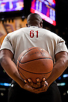 28 February 2010: NBA official Courtney Kirkland holds the NBA Spaulding game ball during a timeout during the Los Angeles Lakers 95-89 victory over the Denver Nuggets at the STAPLES Center in Los Angeles, CA.