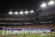 October 6, 2017 - Washington, DC, USA - The Chicago Cubs line up before action against the Washington Nationals in Game 1 of a National League Division Series on Friday, Oct. 6, 2017, at Nationals Park in Washington D.C. (Credit Image: © Brian Cassella/TNS via ZUMA Wire)