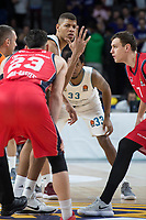 Real Madrid Walter Tavares and Baskonia Vitoria Johannes Voigtmann during Turkish Airlines Euroleague match between Real Madrid and Baskonia Vitoria at Wizink Center in Madrid, Spain. January 17, 2018. (ALTERPHOTOS/Borja B.Hojas)