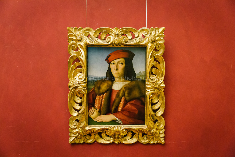 FLORENCE, ITALY - 3 JUNE 2018: &quot;Portrait of a Young Man with an Apple&quot; (1504-1505 ca) by Raphael is seen here at the Uffizi before being relocated at Palazzo Pitti, in Florence, Italy, on June 3rd 2018.<br /> <br /> As of Monday June 4th 2018, Room 41 or the &ldquo;Raphael and Michelangelo room&rdquo; of the Uffizi is part of the rearrangement of the museum's collection that has<br /> been defining Uffizi Director Eike Schmidt&rsquo;s grander vision for the Florentine museum.<br /> Next month, the museum&rsquo;s Leonardo three paintings will be installed in a<br /> nearby room. Together, these artists capture &ldquo;a magic moment in the<br /> first decade of the 16th century when Florence was the cultural and<br /> artistic center of the world,&rdquo; Mr. Schmidt said. Room 41 hosts, among other paintings, the dual portraits of Agnolo Doni and his wife Maddalena Strozzi painted by Raphael round 1504-1505, and the &ldquo;Holy Family&rdquo;, that Michelangelo painted for the Doni couple a year later, known as the<br /> Doni Tondo.