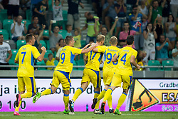 Players of NK Domzale celebrate goal during 2nd Leg football match between NK Domzale and FC Freiburg in 3rd Qualifying Round of UEFA Europa League 2017/18, on August 3rd, 2017 in SRC Stozice, Ljubljana, Slovenia. Photo by Urban Urbanc / Sportida
