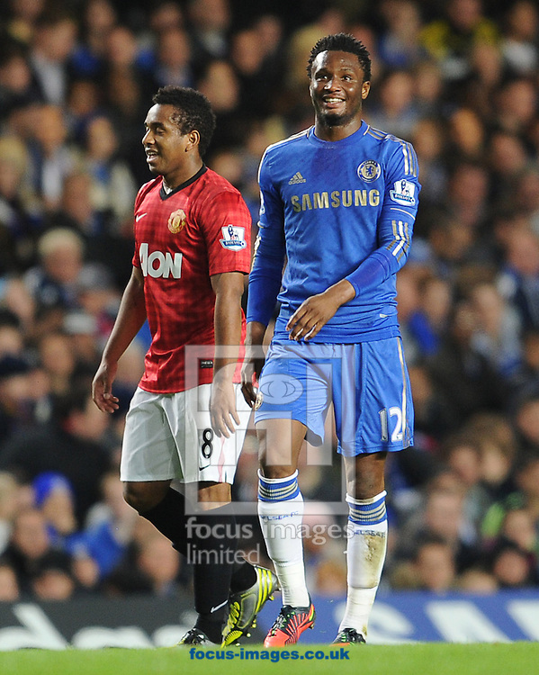 Picture by Andrew Timms/Focus Images Ltd +44 7917 236526.31/10/2012.John Obi Mikel of Chelsea and Anderson of Manchester United during the Capital One Cup match at Stamford Bridge, London.