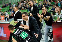 Roko Badzim of Petrol Olimpija and Sasa Nikitovic, coach of Petrol Olimpija during basketball match between KK Petrol Olimpija and KK FMP in Round #9 of ABA League 2018/19, on November 24, 2018, in Arena Stozice, Ljubljana, Slovenia. Photo by Vid Ponikvar / Sportida