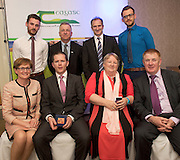 Brian Leonard Teagasc, Prof Gerry Boyle, Director Teagasc, David Small, DARDNI Ricky Conneely Teagasc,  and seated MEP Mairead McGuinness, Mark Ganley Marc Sports Marie Kelly, and John Concannon JFC at the JFC Innovation awards sponsored by Teagasc, DARD Northern Ireland and the Irish Farmers Journal at the Claregalway Hotel. Photo:Andrew Downes