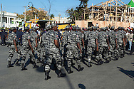 Newly trained Haitian security forces march through the streets during Mardi-Gras. Port-au-Prince, February 2, 2008.