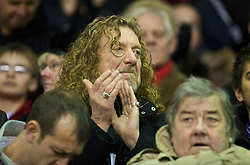 LIVERPOOL, ENGLAND - Saturday, December 26, 2009: Wolverhampton Wanderers' fan, Led Zeppelin's Robert Plant, sees his side take on Liverpool during the Premiership match at Anfield. (Photo by: David Rawcliffe/Propaganda)