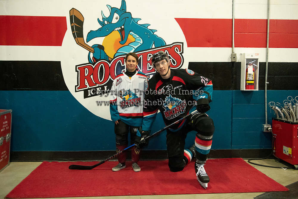 KELOWNA, CANADA - DECEMBER 5:  Braydyn Chizen #22 of the Kelowna Rockets poses with the Pepsi Player of the Game after warm up against the Tri-City Americans on December 5, 2018 at Prospera Place in Kelowna, British Columbia, Canada.  (Photo by Marissa Baecker/Shoot the Breeze)