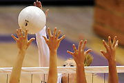 Byron Hetzler/Sky-Hi Daily News<br /> <br /> West Grand's Brook Cecil hits past the Paonia block during Friday night's game in Kremmling.  The Lady Mustangs went on to win the match in four sets, 25-19, (22-25), 26-24, 25-22.