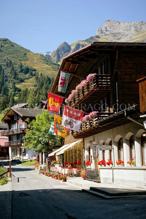 Alpine Chalet in the Bernese Alps of Switzerland. Taken in Murren Village, Switzerland.