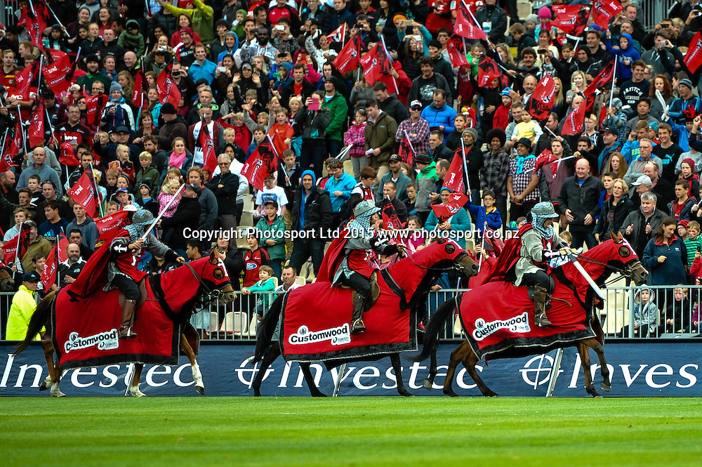 Horses in the Super Rugby match, Crusaders v Rebels at AMI Stadium, Christchurch, New Zealand 13 February 2015. Photo:John Davidson/www.photosport.co.nz