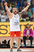 Great Britain, London - 2017 August 11: Pawel Fajdek (Agros Zamosc) of Poland competes in men&rsquo;s hammer throw final during IAAF World Championships London 2017 Day 8 at London Stadium on August 11, 2017 in London, Great Britain.<br /> <br /> Mandatory credit:<br /> Photo by &copy; Adam Nurkiewicz<br /> <br /> Adam Nurkiewicz declares that he has no rights to the image of people at the photographs of his authorship.<br /> <br /> Picture also available in RAW (NEF) or TIFF format on special request.<br /> <br /> Any editorial, commercial or promotional use requires written permission from the author of image.