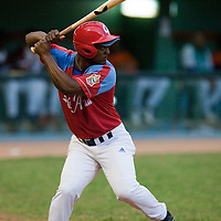 15 February 2009: Orelvis Charles is seen at bat during a training game of Cuba Baseball Team for the World Baseball Classic 2009. The national team is pitted against itself, divided in two teams called the Occidentales and the Orientales. The Orientales win 12-8, at the Latinoamericano stadium, in la Habana, Cuba.