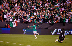 February 24, 2010; San Francisco, CA, USA;  Mexico forward Javier Hernandez (11) celebrates after scoring a goal on Bolivia goalkeeper Daniel Vaca (1) during the first half at Candlestick Park. Mexico defeated Bolivia 5-0.