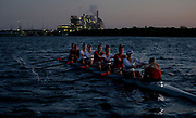 Texas rowing's I Eights team rows during a practice at Lake Walter E. Long on Friday, April 26, 2019, in Austin, Texas. NICK WAGNER / AMERICAN-STATESMAN
