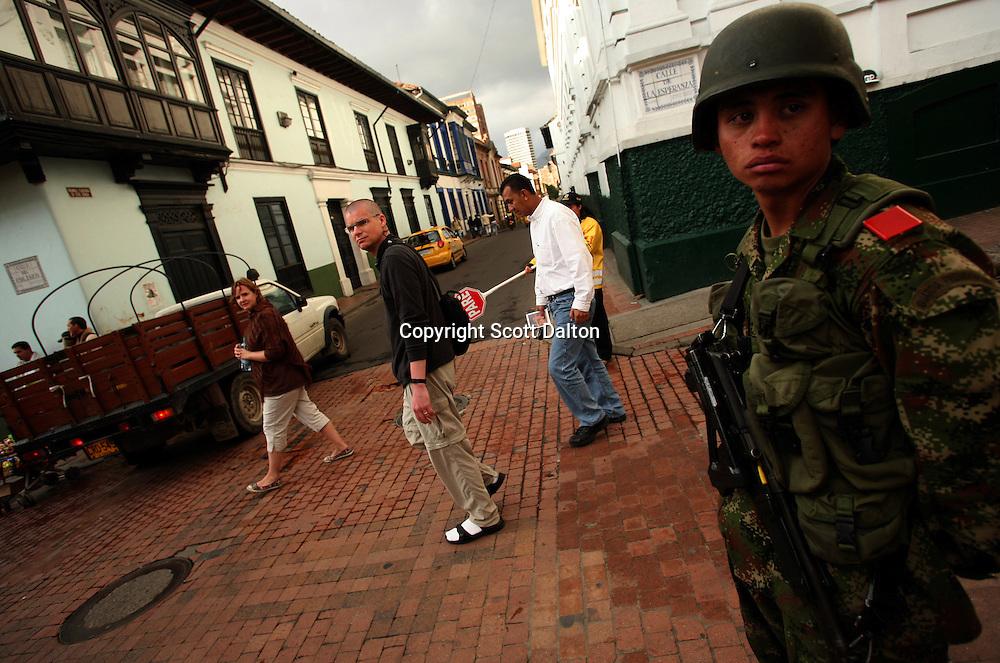 A soldier keeps guard on the street in La Candelaria, Bogota?s oldest neighborhood, on Friday, February 22, 2008. (Photo/Scott Dalton)
