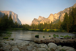 Valley view, the Merced River flows in front of El Capitan and Cathedral Rocks, Yosemite National Park, California, USA.