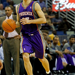 February 2, 2012; New Orleans, LA, USA; Phoenix Suns point guard Steve Nash (13) against the New Orleans Hornets during the second half of a game at the New Orleans Arena. The Suns defeated the Hornets 120-103.  Mandatory Credit: Derick E. Hingle-US PRESSWIRE