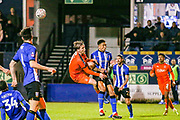 Luton Town midfielder Luke Berry (8) shoots towards the goal during the The FA Cup 3rd round replay match between Luton Town and Sheffield Wednesday at Kenilworth Road, Luton, England on 15 January 2019.