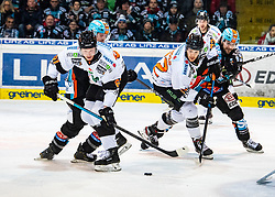 19.01.2020, Keine Sorgen Eisarena, Linz, AUT, EBEL, EHC Liwest Black Wings Linz vs Moser Medical Graz 99ers, 42. Runde, im Bild v.l. Alexander Reichenberg (Moser Medical Graz 99ers), Andreas Kristler (EHC Liwest Black Wings Linz), Kevin Moderer (Moser Medical Graz 99ers), Alexander Cijan (EHC Liwest Black Wings Linz) // during the Erste Bank Eishockey League 42th round match between EHC Liwest Black Wings Linz and Moser Medical Graz 99ers at the Keine Sorgen Eisarena in Linz, Austria on 2020/01/19. EXPA Pictures © 2020, PhotoCredit: EXPA/ Reinhard Eisenbauer