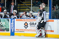 KELOWNA, CANADA - MARCH 15: Head coach Don Hay speaks to Payton Lee #1 of the Vancouver Giants during a second period time out against the Kelowna Rockets on March 15, 2014 at Prospera Place in Kelowna, British Columbia, Canada.   (Photo by Marissa Baecker/Getty Images)  *** Local Caption *** Don Hay; Payton Lee;