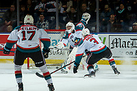 KELOWNA, CANADA - FEBRUARY 8: James Porter #1 of the Kelowna Rockets misses a first period save against the Prince George Cougars on February 8, 2019 at Prospera Place in Kelowna, British Columbia, Canada.  (Photo by Marissa Baecker/Shoot the Breeze)