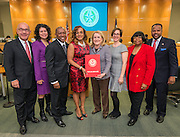 Sylvia Garcia presents a proclamation for school board appreciation during swearing in ceremonies for newly elected Houston ISD trustees, January 14, 2016.