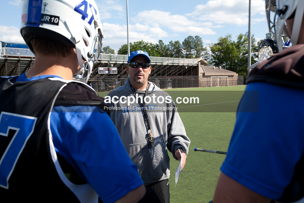 11 April 2012: Assistant coach Ron Caputo of the Duke Blue Devils on the campus of Duke University in Durham, NC. Photos taken for a behind-the-scenes story for Lacrosse Magazine.
