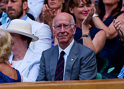 LONDON, ENGLAND - Saturday, July 7, 2018: Former England football player Bobby Charlton in the Royal Box before the Gentlemen's Singles 3rd Round match on day six of the Wimbledon Lawn Tennis Championships at the All England Lawn Tennis and Croquet Club. (Pic by Kirsten Holst/Propaganda)