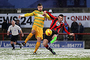 Ryan Edwards clears during the Sky Bet League 2 match between Morecambe and Yeovil Town at the Globe Arena, Morecambe, England on 16 January 2016. Photo by Pete Burns.