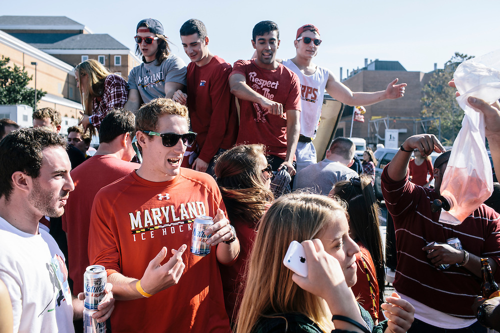 University of Maryland students and alumn tailgate  in the main parking lot outside of Capital One Field at Byrd Stadium before the homecoming football game against Iowa on Oct. 18, 2014.