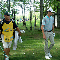 Chesson Hadley and his caddy going to 10th tee after turn at the LeCom Health Challenge Web.com PGA Tour at Peek n Peak July 9, 2017 photo by Mark L. Anderson