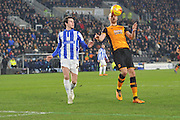 Hull City midfielder David Meyler (7) takes the ball  against Kieran Lee of Sheffield Wednesday  during the Sky Bet Championship match between Hull City and Sheffield Wednesday at the KC Stadium, Kingston upon Hull, England on 26 February 2016. Photo by Ian Lyall.
