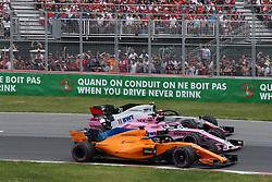 June 9, 2018 - Montreal, Canada - Motorsports: FIA Formula One World Championship 2018, Grand Prix of Canada#14 Fernando Alonso (ESP, McLaren-Renault), #11 Sergio Perez (MEX, Sahara Force India F1 Team), . , #20 Kevin Magnussen (DEN, Haas F1 Team) (Credit Image: © Hoch Zwei via ZUMA Wire)