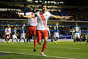 Charlton Athletic midfielder Johnnie Jackson celebrates scoring the first goal during the Sky Bet Championship match between Birmingham City and Charlton Athletic at St Andrews, Birmingham, England on 21 November 2015. Photo by Alan Franklin.