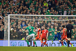 DUBLIN, REPUBLIC OF IRELAND - Friday, March 24, 2017: Republic of Ireland's James McClean misses a chance during the 2018 FIFA World Cup Qualifying Group D match against Wales at the Aviva Stadium. (Pic by David Rawcliffe/Propaganda)