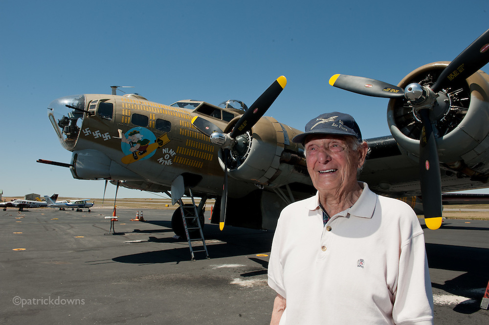 Frank Carrico was a WWII B-17 and B-24 co-pilot who flew 36 combat missions with the 493rd Bomber Group over Europe, mostly to Germany but also to France, Holland and Belgium. He is photographed in front the B-17G that the Collings Foundation tours across America, one like he flew in WWII. Frank passed away on 1 September, 2012. RIP, Frank.