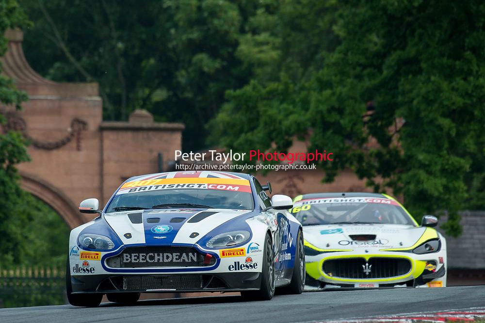 Jordan Albert (GBR) / Jack Bartholomew (GBR)  #407 Beechdean AMR  Aston Martin V8 Vantage GT4  Aston Martin 4.7L V8 British GT Championship at Oulton Park, Little Budworth, Cheshire, United Kingdom. May 28 2016. World Copyright Peter Taylor/PSP.