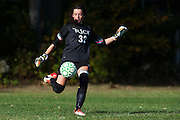 Rice goalie Hannah Miller (32) kicks the ball during the girls soccer game between the Milton Yellowjackets and the Rice Green Knights at Rice Memorial High School on Saturday afternoon October 3, 2015 in South Burlington. (BRIAN JENKINS/ for the FREE PRESS)
