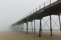 © Licensed to London News Pictures. 23/05/2012..Saltburn Beach, Cleveland, England..Saltburn beach in Cleveland is shrouded in thick sea fret creating a mysterious environment for visitors to the beach...Photo credit : Ian Forsyth/LNP