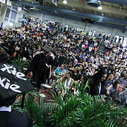"Goldey-Beacom College Student seen wearing a custom cap that reads ""Xie, Xie"" during Goldey-Beacom commencement exercise Friday, May 1, 2015, at Joseph West Jones College Center on the campus of Goldey-Beacom College in Wilmington Delaware."