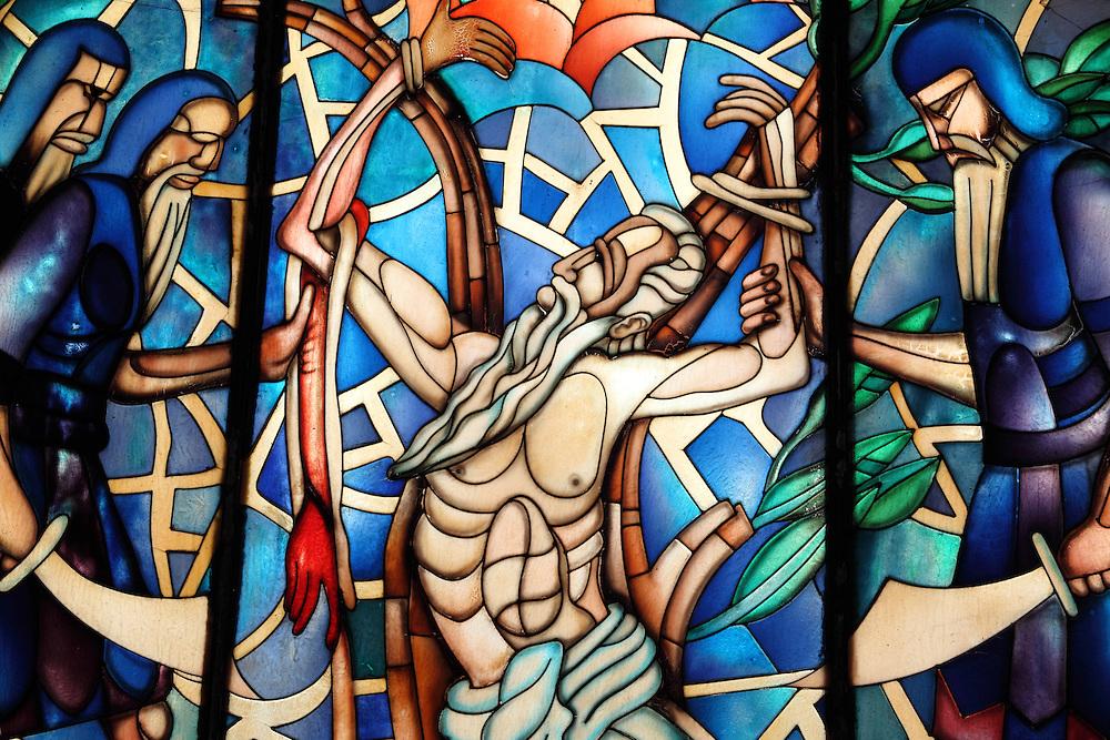 Stain glass window in Saint Bartolome Church.